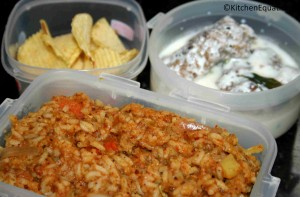 Bisibelle Bath served with chips/wafers and Dahi wada (Lunch-box Idea2)