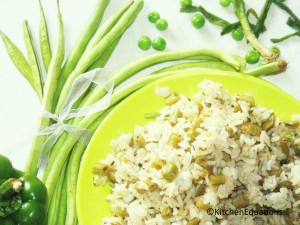 G-6 Rice (6 Greens Rice) - Healthy lunch-box recipe