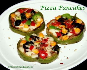 Pizza Pancakes (Whole wheat, Eggless, Stove-top)