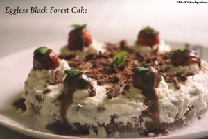 Eggless Black Forest Cake (With home-made frosting)