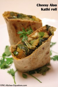 Cheesy Aloo Kathi roll or wrap with peanut sauce