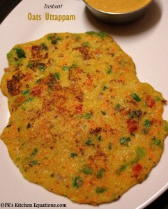 Instant Oats Uthappam - healthy low calorie and high fibre recipe
