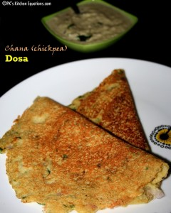 Kabuli chana or chickpea Dosa (Garbanzo dosa) - 200 calorie meal