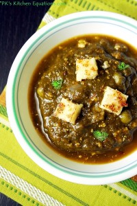 Palak paneer - spinach cottage cheese gravy