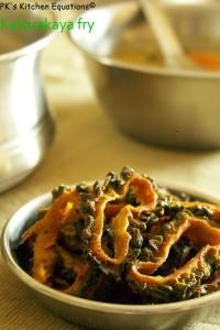 Bitter gourd fry (kakarakaya  or karela fry)